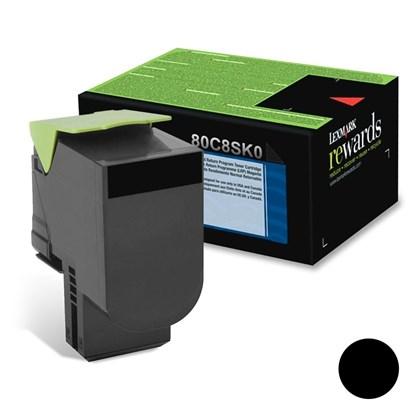 Cartucho de Toner Lexmark 80C8SK0 Preto p/ 2.500 Páginas
