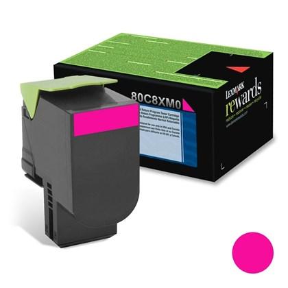 Cartucho de Toner Lexmark 80C8XM0 Magenta p/ 4.000 Páginas