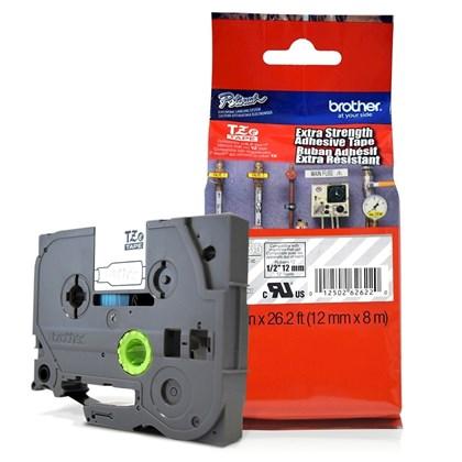 Fita Extra Forte p/ Rotulador Brother TZeS-135 Branco Sobre Transparente 12mm