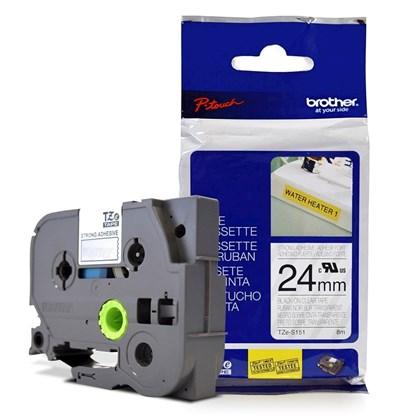 Fita Extra Forte p/ Rotulador Brother TZeS-151 Preto Sobre Transparente 24mm