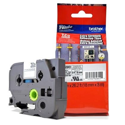 Fita Extra Forte p/ Rotulador Brother TZeS-941 Preto Sobre Prateada 18mm