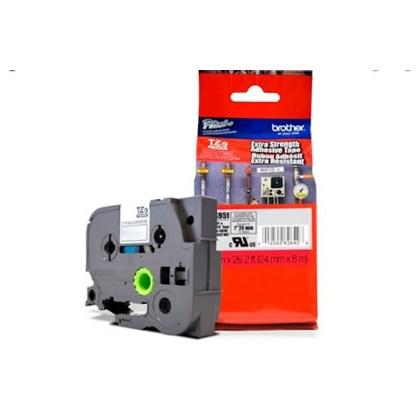 Fita Extra Forte p/ Rotulador Brother TZeS-951 Preto Sobre Prata 24mm