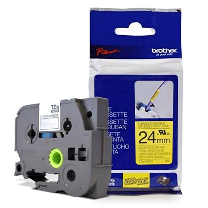 Fita Flexível p/ Rotulador Brother TZeFX-651 Preto Sobre Amarelo 24mm