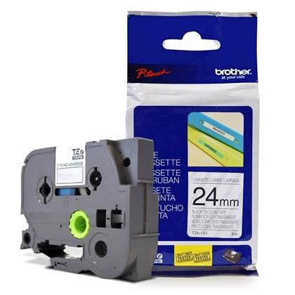 Fita Laminada p/ Rotulador Brother TZe-151 Preto Sobre Transparente 24mm