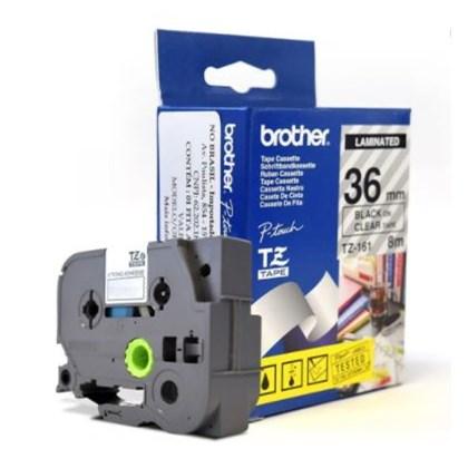 Fita Laminada p/ Rotulador Brother TZe-161 Preto Sobre Transparente 36mm