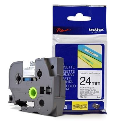Fita Laminada p/ Rotulador Brother TZe-251 Preto Sobre Branca 24mm