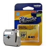 Fita para Rotulador Brother M-821 Preto Sobre Dourado 9mm