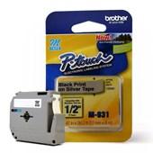 Fita para Rotulador Brother M-931 Preto Sobre Prateado 12mm