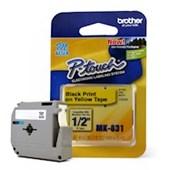 Fita para Rotulador Brother MK-631 Preto Sobre Amarelo 12mm