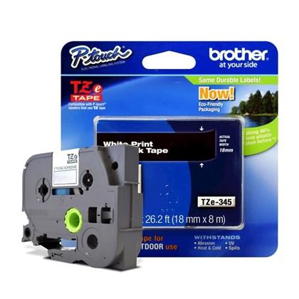 Fita para Rotulador Brother TZe-345 Branco Sobre Preto 18mm
