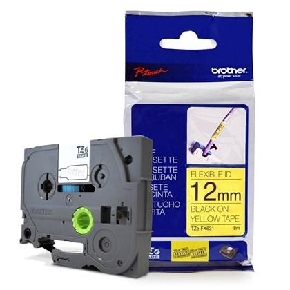 Fita para Rotulador Brother TZe-FX631 Preto Sobre Amarelo 12mm