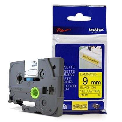 Fita para Rotulador Brother TZeS-621 Preto Sobre Amarelo 9mm